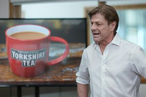Famous actor Sean Bean in the new TV advert for Yorkshire Tea filmed at Taylors of Harrogate.
