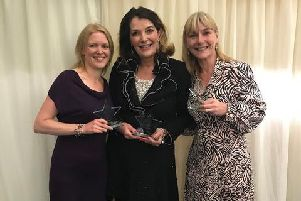 Sally Ward, National Funeral Celebrant of the Year, centre, with other award winners, Sophie Easton, left and Deborah Page, right.