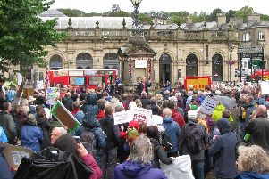 Saturday's protest rally in Buxton. Photo: Ben Evens.