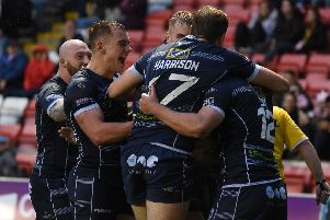 Featherstone Rovers celebrate. PIC: Dec Hayes.