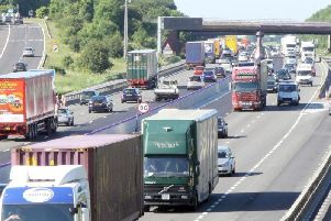 Two people were taken to hospital after a crash involving three vehicles on the M1 yesterday afternoon.