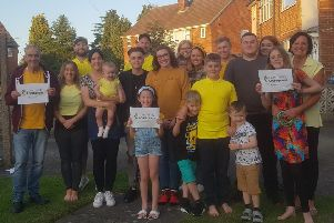 Leon's family celebrate the donation of �1,000 from Persimmon Homes.