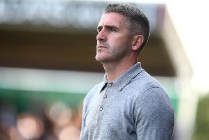 NORTHAMPTON, ENGLAND - AUGUST 31: Plymouth Argyle manager Ryan Lowe looks on during the Sky Bet League Two match between Northampton Town and Plymouth Argyle at PTS Academy Stadium on August 31, 2019 in Northampton, England. (Photo by Pete Norton/Getty Images)