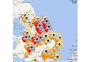 193 flood warnings and alerts are currently in place across the UK. Pic: Environment Agency.
