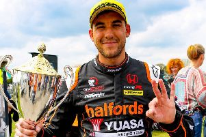 Dan Cammish celebrates his BTCC race victory at Thruxton earlier this year. Picture: Chris Wynne.