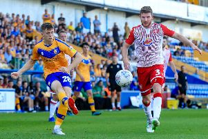 Picture John Hobson/AHPIX LTD, Football, Sky Bet League Two, Mansfield Town v Stevenage, One Call Stadium, Mansfield, UK, 24/08/19, K.O 3pm''Mansfields Jason Law crosses into the box''Howard Roe>>>>>>>07973739229