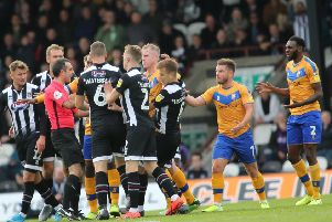 Picture Jez Tighe/AHPIX LTD, Football, Sky Bet League Two, Grimsby Town v Mansfield Town, Blundell Park, Grimsby, UK, 05/10/19, K.O 3pm''Players from both sides surround the referee before White is dismissed.''Howard Roe>07973739229
