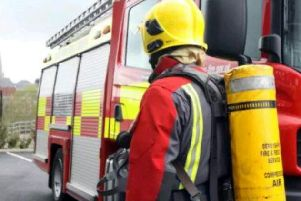 Firefighters tackled the blaze at an industrial building