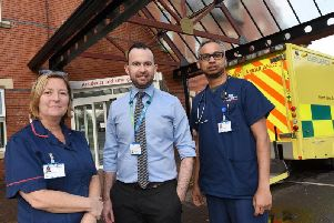 Amanda Ahmed, A and E matron, Shaun Curran, director of operations Wrightington, Wigan and Leigh NHS Foundations Trust, and consultant Dr Shariq Ahmed
