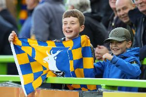 Mansfield Town fans ahead of kick-off at Forest Green Rovers.