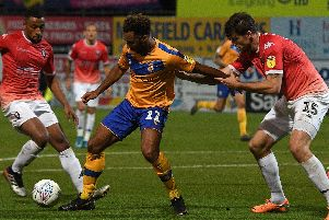 Nicky Maynard is surrounded by Salford defenders.