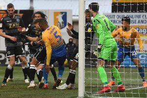 Picture Andrew Roe/AHPIX LTD, Football, EFL Sky Bet League Two, Mansfield Town v Macclesfield Town, One Call Stadium, 02/02/2019, K.O 3pm''Mansfield's Krystian Pearce restores his sides lead''Andrew Roe>>>>>>>07826527594
