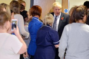 Boris Johnson visits King's Mill Hospital.