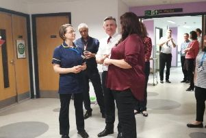Jonathan Ashworth speaking to staff at King's Mill Hospital.