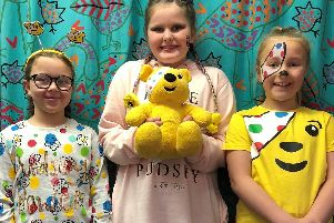 Greenwood Primary School pupils Sophia Foster, Kacie-Leigh Geering and Alice Moore, all aged eight.