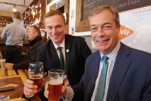 Martin Daubney, left, with Nigel Farage in Eastwood.