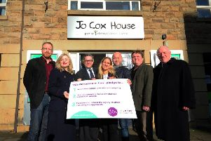 Batley and Spen candidates call for a clean election campaign, pictured outside Jo Cox House, Batley. Pictured from the left are Simon Cope (Green Party Candidate for Dewsbury), Tracy Brabin (Labour), Mark Brooks (Conservative),. Kim Leadbeater, Paul Halloran (Independent), John Lawson (Liberal Democrat) and Clive Minihan (Brexit Party). Photo: Simon Hulme