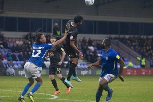 Mansfield's Mal Benning with a rare first half opportunity against Macclesfield.