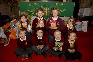 Year 1 and 2 pupils from King Edward Primary School took part in a Harvest Festival celebration at St Peter and St Paul's Church Mansfield