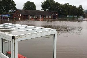 Flooding at Garstang Sports Club in summer 2016 - the new building project will see new flood defences installed.