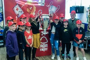 Pupils from Mapplewells Primary and Nursery School learn all about Nottingham Forest's European Cup successes.