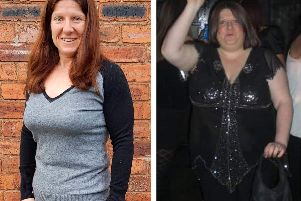 Kelly Redfern now, left, and before her weight loss. Image: Solent News.