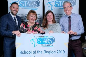 Aran Nugent, pictured left, from the Department for Transport presents the School of the Region award to, from left, Alfreton Nursery School staff Jane Blant and Nicola Bettison, with Derbyshire County Council transport officer Rob Bounds
