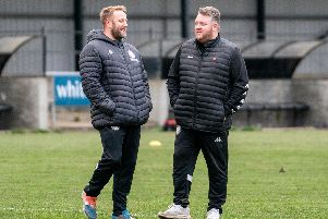 Paul Postlethwaite (left) and Glen Clarence were pleased with their Heanor Town side's performance on Saturday. Photo by Lesley Parker.