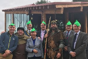 BBC One Show's Mike Dilger, TV's Phil Rose (aka Friar Tuck), and county council representatives at the new visitor centre.