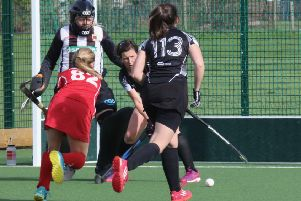 Garstang's Ellie Higham scores her first against Leyland and Chorley