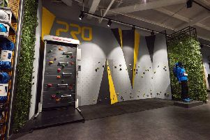The in-house climbing walls, which are an innovative feature of the new Pro superstore in Shirebrook.