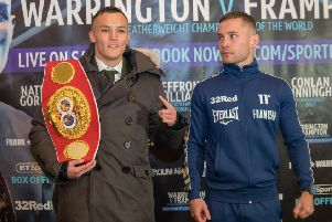 Josh Warrington and Carl Frampton at Wednesday's pre-fight press conference. Picture: Pitch Marketing Group.