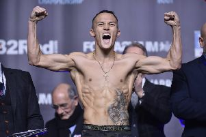 Josh Warrington pictured during today's weigh in ahead of his IBF featherweight title fight with Carl Frampton tomorrow. Picture: Steve Riding.