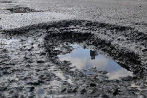 A typical pothole found on the roads of Nottinghamshire.
