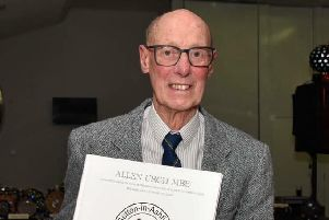 'Mr Sutton Swimming', 88-year-old Allen Urch, with his leaving present.