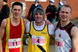 Runner-up Joe Sagar (Spenborough AC) with race winner Chris Parr (Jarrow & HebburnAC) and third placed Scott Hinchcliffe (Penistone Footpath Runners).