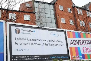 Theresa May Brexit billboard.
