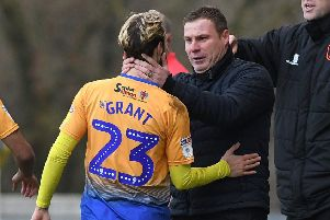 Picture Andrew Roe/AHPIX LTD, Football, EFL Sky Bet League Two, Mansfield Town v Macclesfield Town, One Call Stadium, 02/02/2019, K.O 3pm''Mansfield's Jorge Grant celebrates his opening goal with manager David Flitcroft''Andrew Roe>>>>>>>07826527594