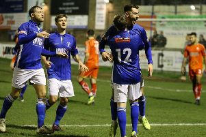 The joy was short-lived for Matlock after Alfreton came from 2-1 down to win 4-2. Pic by Jez Tighe.