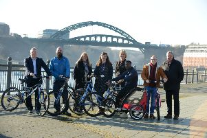 St Peter's Cycle and Sports Hub receives national recognition. From left, University of Sunderland's Kevin Ludlow, Cycle UK's Andrew Thorp, Coun Amy Wilson, Student Union's Rebecca Little, Go Smarter's Diane Hilder, Student Union's Bryan Pepple, Hub manager Richy Duggan and Coun Barry Curran.