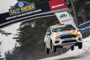 Mansfield co-driver Phil Hall flying high in Rally Sweden. (PHOTO BY: Ricardo Oliveira/M-Sport JWRC)