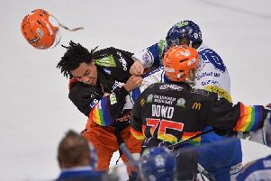 Jordan Owens helmet went flying in the fight v Coventry. Pic by Dean Woolley