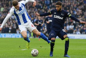 BRIGHTON, ENGLAND - FEBRUARY 16:  Viktor Gyokeres of Brighton and Hove Albion is challenged by Jayden Bogle of Derby County during the FA Cup Fifth Round match between Brighton and Hove Albion and Derby County at Amex Stadium on February 16, 2019 in Brighton, United Kingdom.  (Photo by Mike Hewitt/Getty Images)