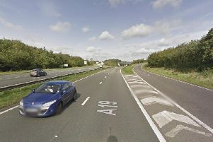 The car was ablaze on the A19 southbound slip road with the A183. Picture by Google