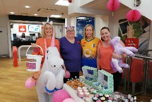 Pictured ate Dianne Smalley, Cassie Pennington, Kerry Yeoman and Coleen Lineker from Santander, Mansfield, who had a unicorn-themed bake sale and raffle for Comic Relief.