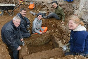 Roger Miket, Steven Turtle, Sarah Winlow, Amy Hitosubashi and Karen Derham at the archaeological dig at The Tankerville Arms in Wooler. 'Picture by Jane Coltman
