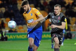 Mansfield Town v Lincoln City.'Ryan Sweeney keeps his eye on the ball in the first half.