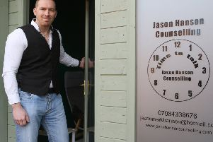 Jason Hanson at his new counselling base.