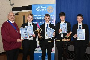 Intermediate winners from Bowland High School. From left to right, John Bank, Harry Sutcliffe, David Breaks and William Beattie, with Rotary District Governor Elect, Miles Leadbeater.'All photos by David Bleazard.