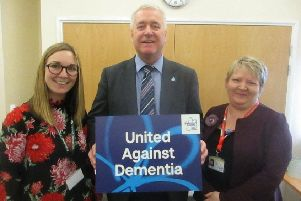Ian Lavery with Claire Batey, left, and Helen Williams of the Alzheimer's Society.